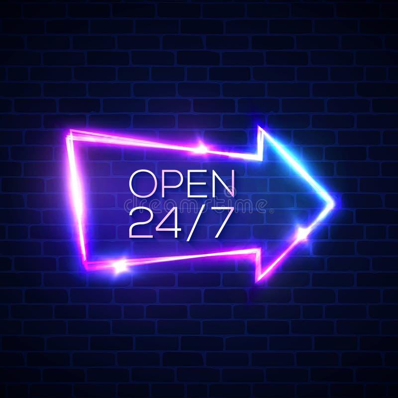 Open 24 7 hours neon light sign on brick wall. stock illustration