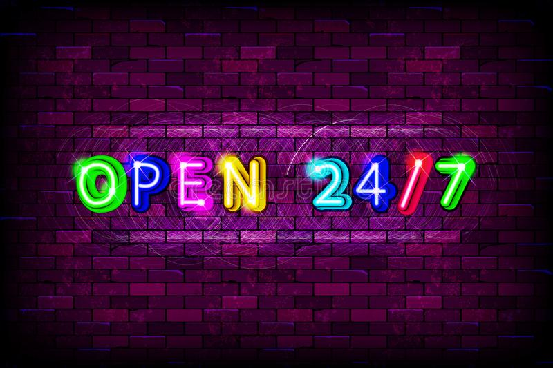 Open 24 7 hours sign on brick wall background stock illustration
