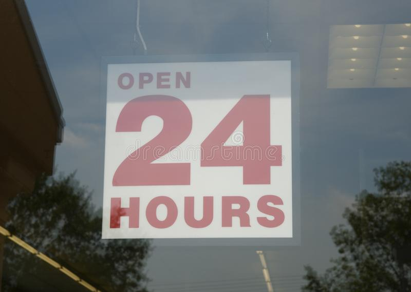 Open 24 Hours Sign royalty free stock photos