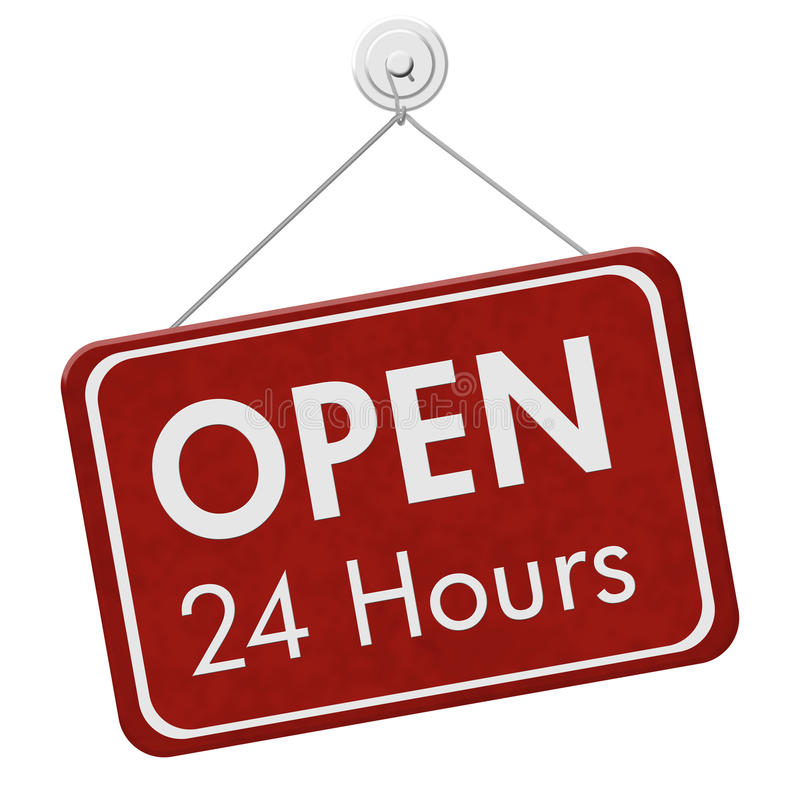 Open 24 Hours Sign. A red hanging sign with text Open 24 Hours isolated over white royalty free illustration