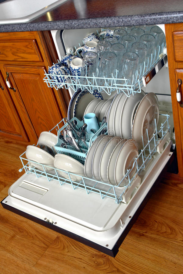 Download Open House Kitchen Dishwasher Full Of Dirty Dishes Stock Image - Image: 14030895