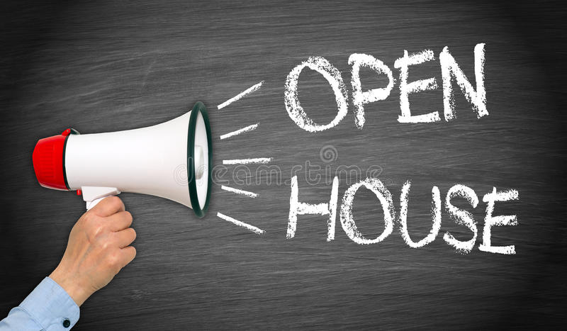 Open House - Megaphone with text. Open House - Megaphone with female hand and text royalty free stock image