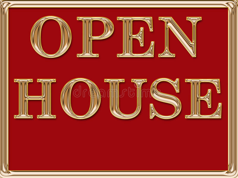 Open House Real Estate Sign Gold royalty free stock photo