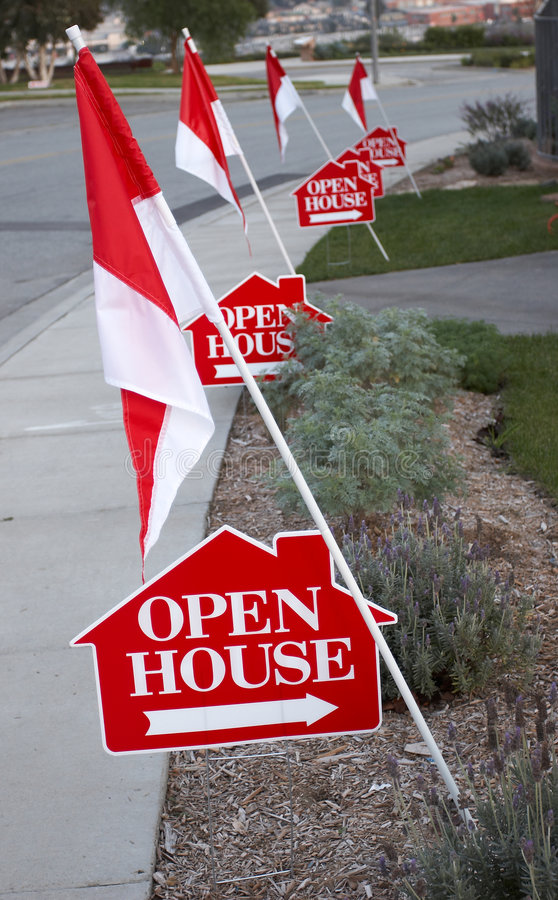 Open house signs stock photo