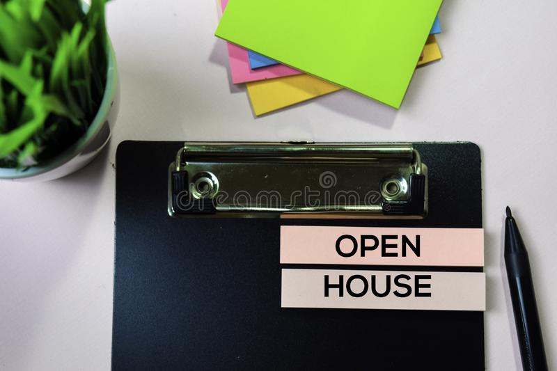 Open House text on sticky notes with office desk concept stock photo