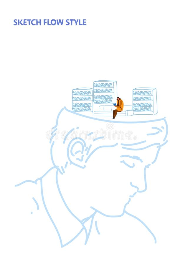 Open human head man student reads book sitting on couch modern library interior education creative idea concept sketch royalty free illustration