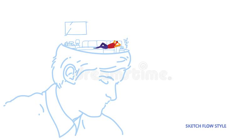Open human head with man watching TV on couch modern living room interior creative idea concept sketch flow style stock illustration