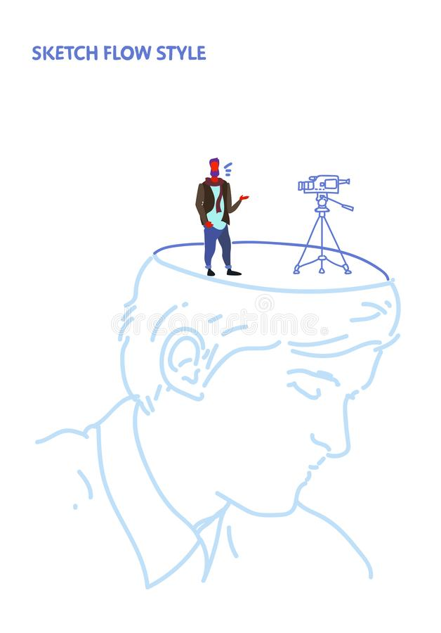 Open human head producer with movie camera film making video cinema production studio equipment creative idea concept. Sketch flow style vertical vector stock illustration