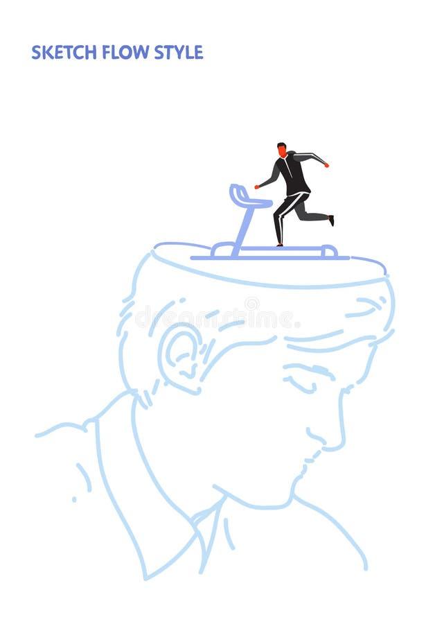 Open human head sportsman running on treadmill runner cardio training creative inspiration healthy lifestyle concept royalty free illustration