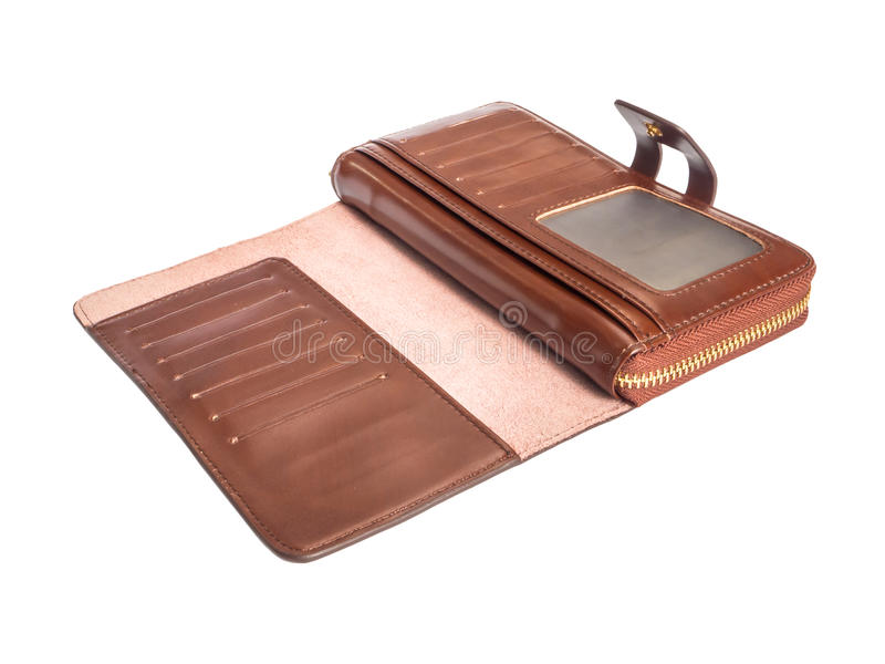 Open inside brown genuine leather wallet stock photography