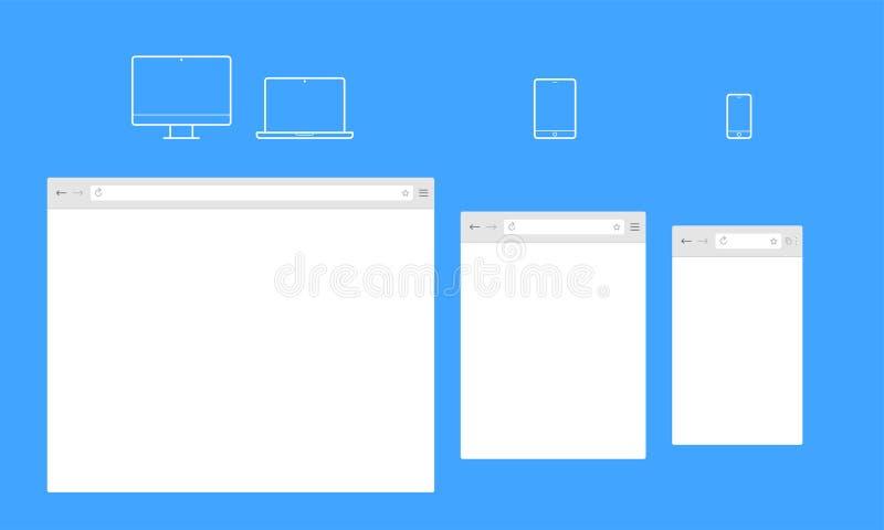 Open Internet-browser venster vectormalplaatje royalty-vrije illustratie