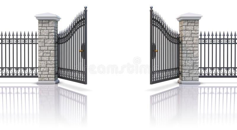 Open iron gate. On white reflective background - 3D illustration stock illustration