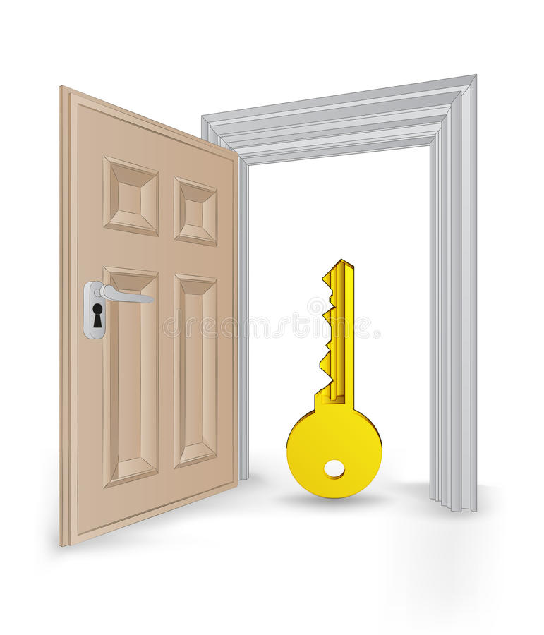 Open isolated doorway frame with golden key vector vector illustration