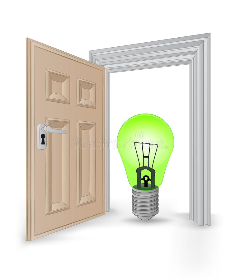 Open isolated doorway frame with green ecological bulb vector. Illustration royalty free illustration