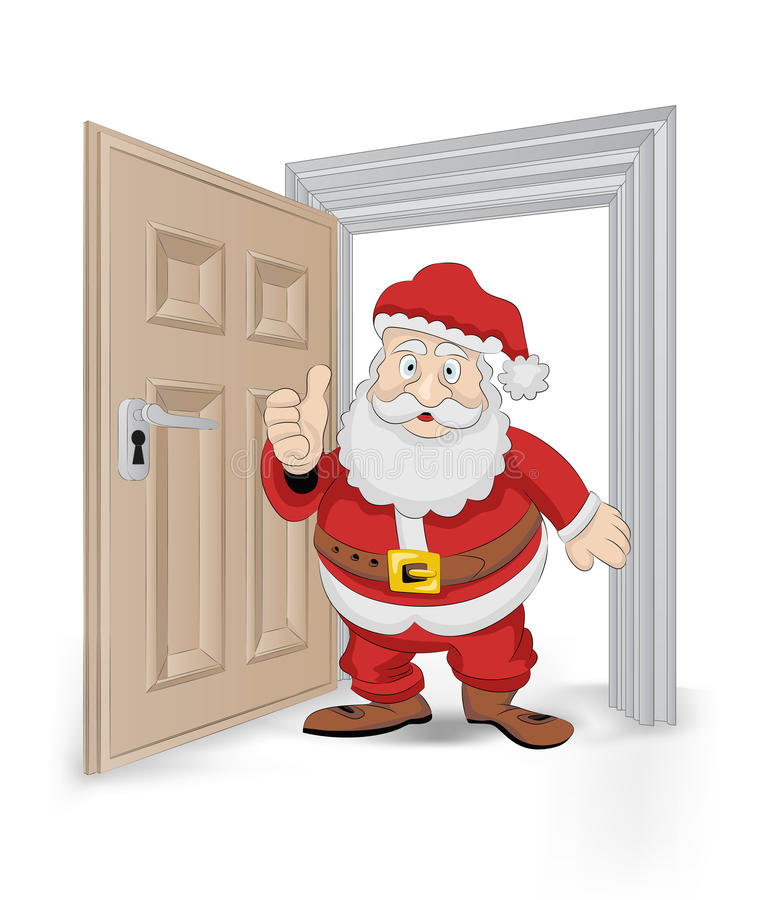 Open isolated doorway frame with Santa Claus vector royalty free illustration