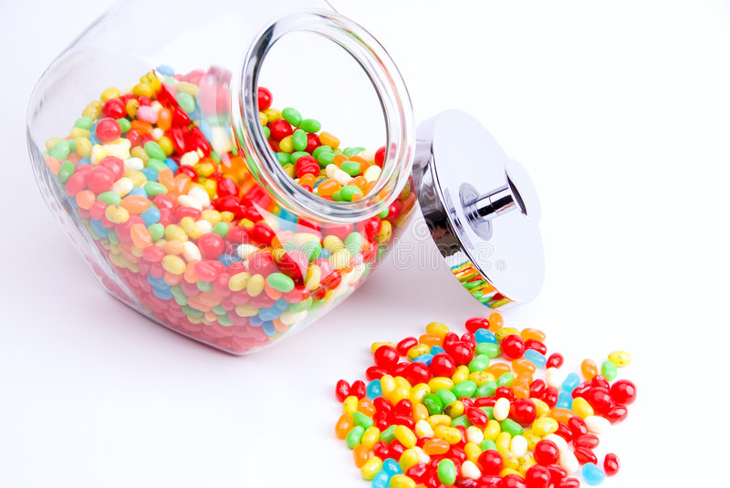 Download Open jar of jelly beans stock image. Image of treat, dessert - 3491459