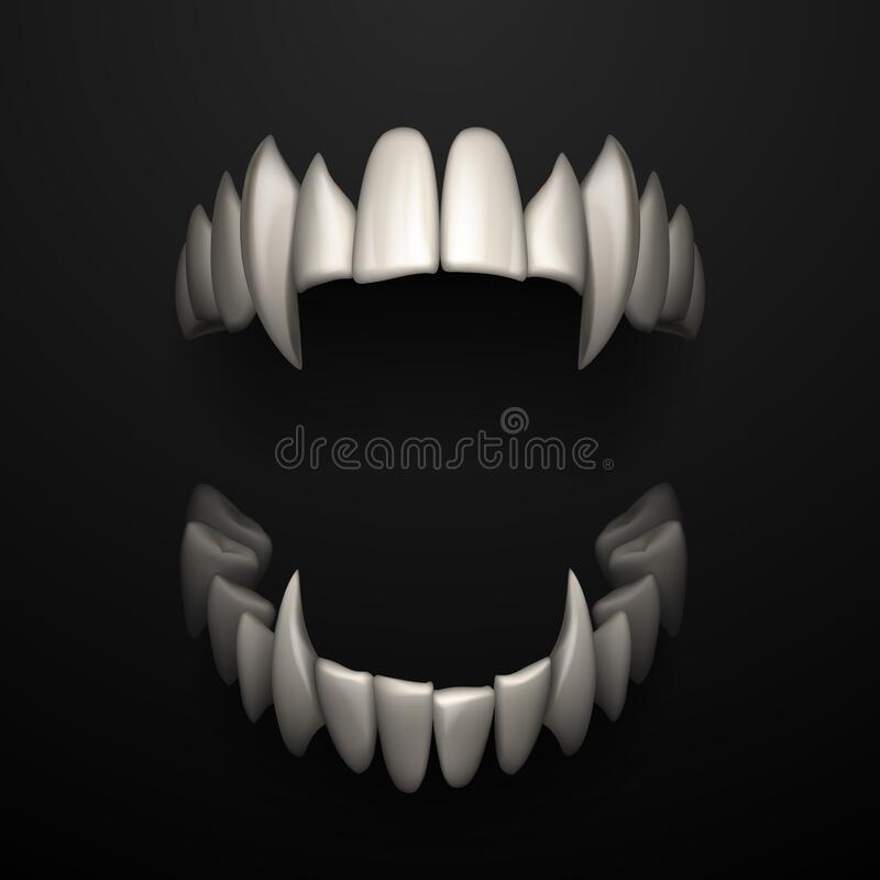Free Open Jaws With Big Fangs On Black Background Royalty Free Stock Images - 186033039