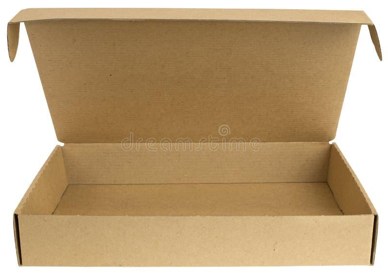 Open kartondoos met een deksel stock foto