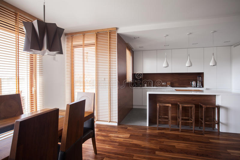 Open kitchen in contemporary design house royalty free stock photos