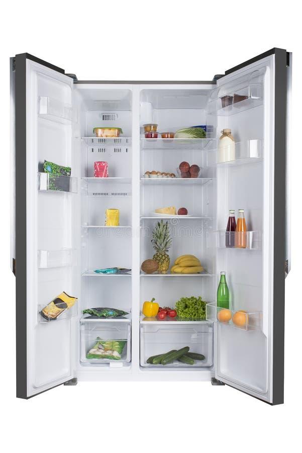 Open koelkasthoogtepunt van verse vruchten en groenten royalty-vrije stock foto's