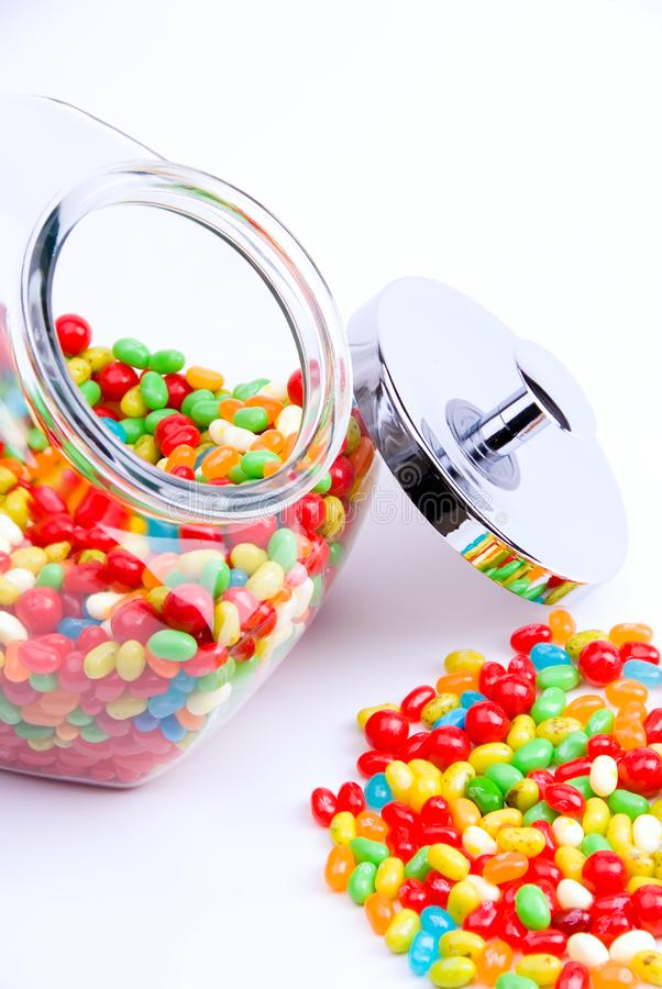Open kruik van suikergoed stock foto's