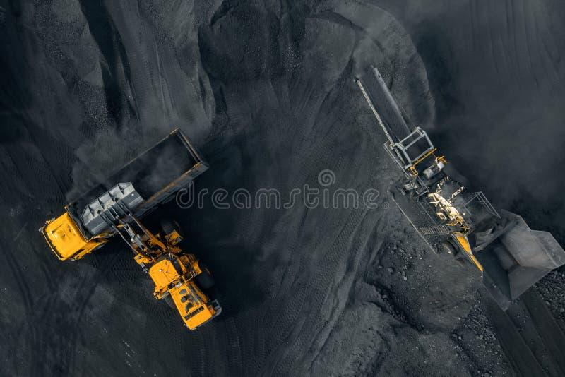 Open kuilmijn, de industrie van de Steenkoolmolen, hoogste menings luchthommel stock foto