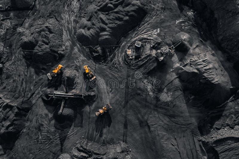 Open kuilmijn, mijnbouw voor steenkool, hoogste menings luchthommel royalty-vrije stock foto