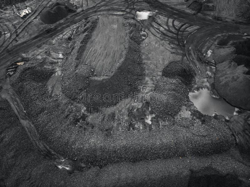Open kuilmijn, mijnbouw voor steenkool, hoogste meningsantenne stock fotografie