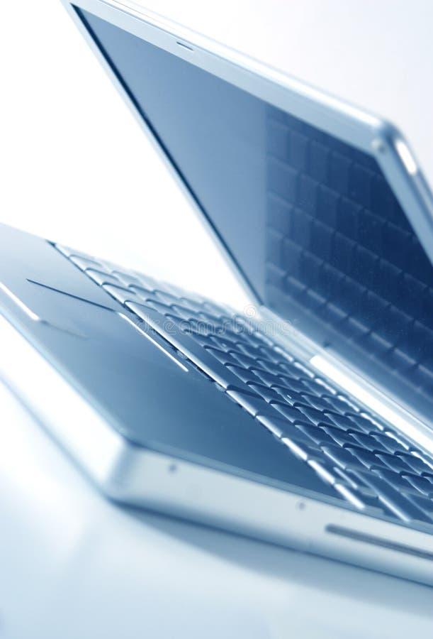 Open laptop. Blue tone, open laptop
