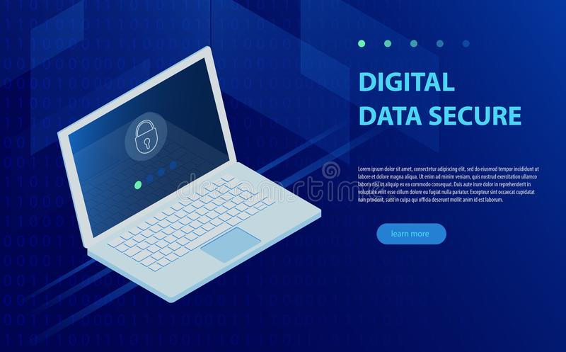 Open laptop with authorization form on screen, personal data protection and processing, information storage protocol isometric. stock illustration