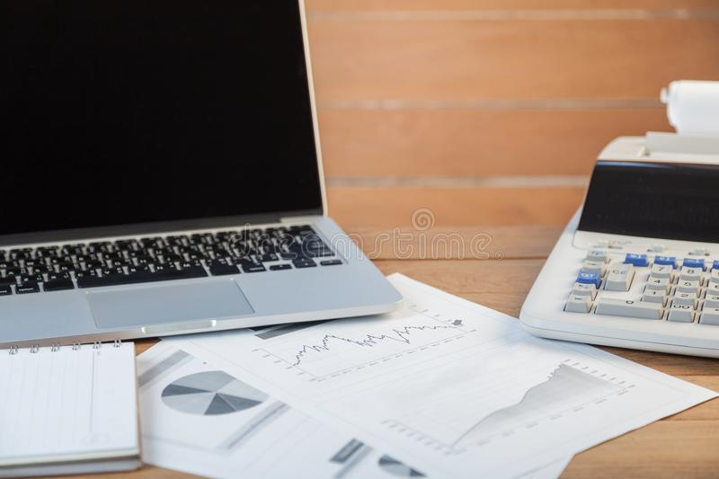 Open laptop with digital tablet and white smartphone, business a royalty free stock photos