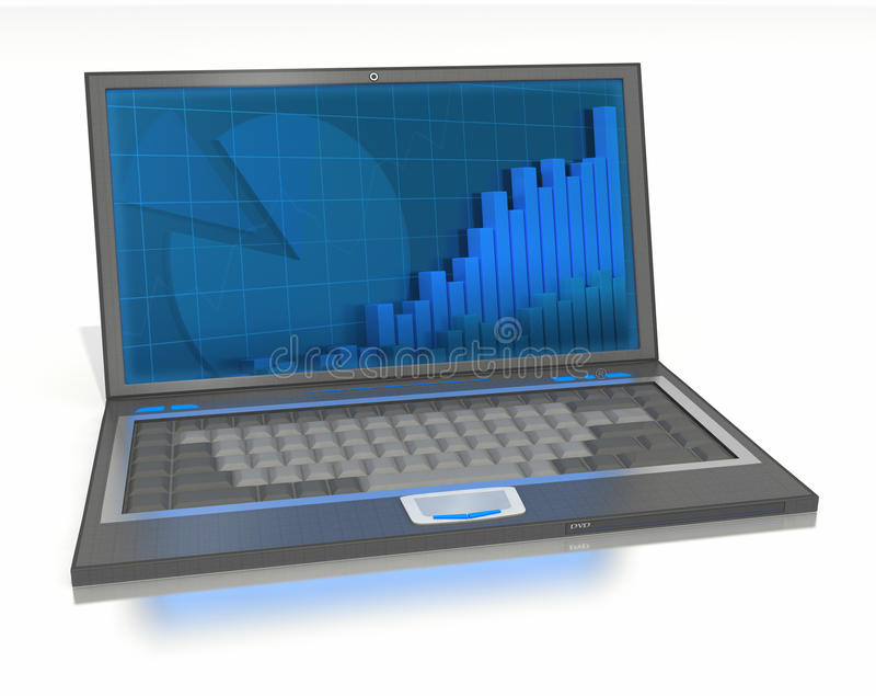 Open laptop with graphs and bars on-screen