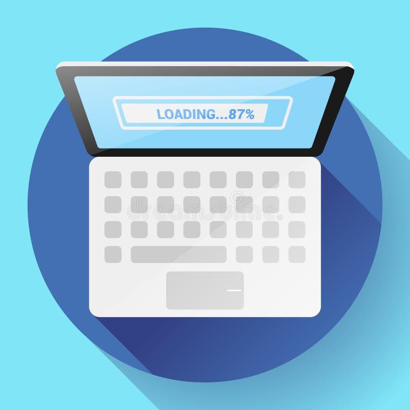 Open Laptop Hoogste Menings Vector Vlak Pictogram royalty-vrije illustratie
