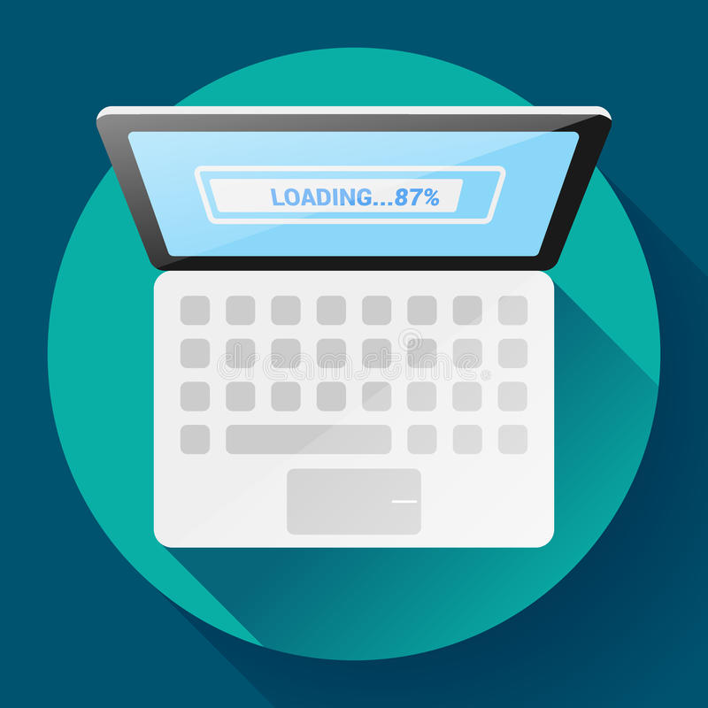 Open Laptop Hoogste Menings Vector Vlak Pictogram vector illustratie