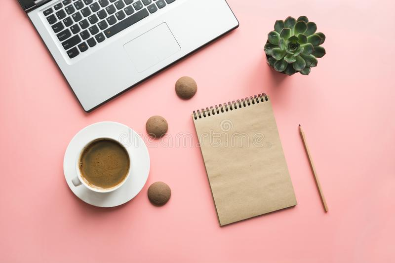 Open laptop, planning and cup of coffee. Top view with copy space. Office business concept. Working process. Workspace with open laptop, documentation, and cup stock photos