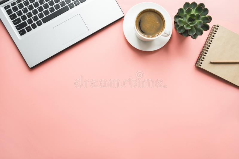 Open laptop, planning and cup of coffee. Top view with copy space. Office business concept. Working process. Workspace with open laptop, documentation, and cup stock image