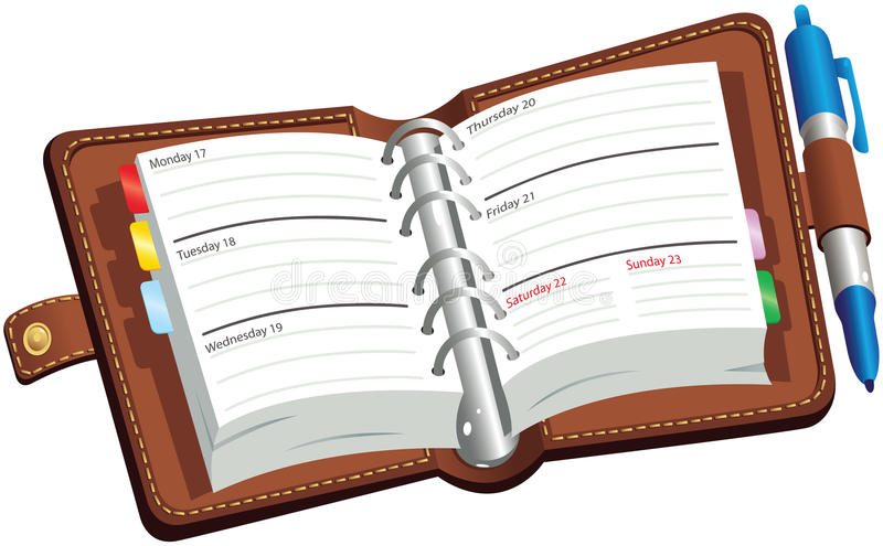 Open leatherbound diary. An illustration of an open leather bound desk diary. Days and dates are included, but no specific years or months, so diary can be used royalty free illustration