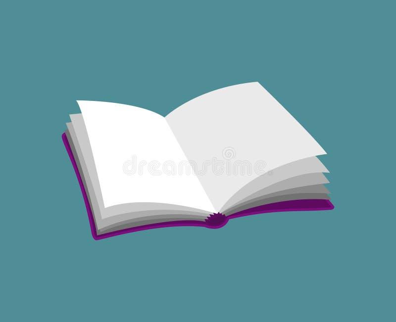 Open leeg boek purper roze die pictogram op blauwe vector wordt geïsoleerd illustr stock illustratie