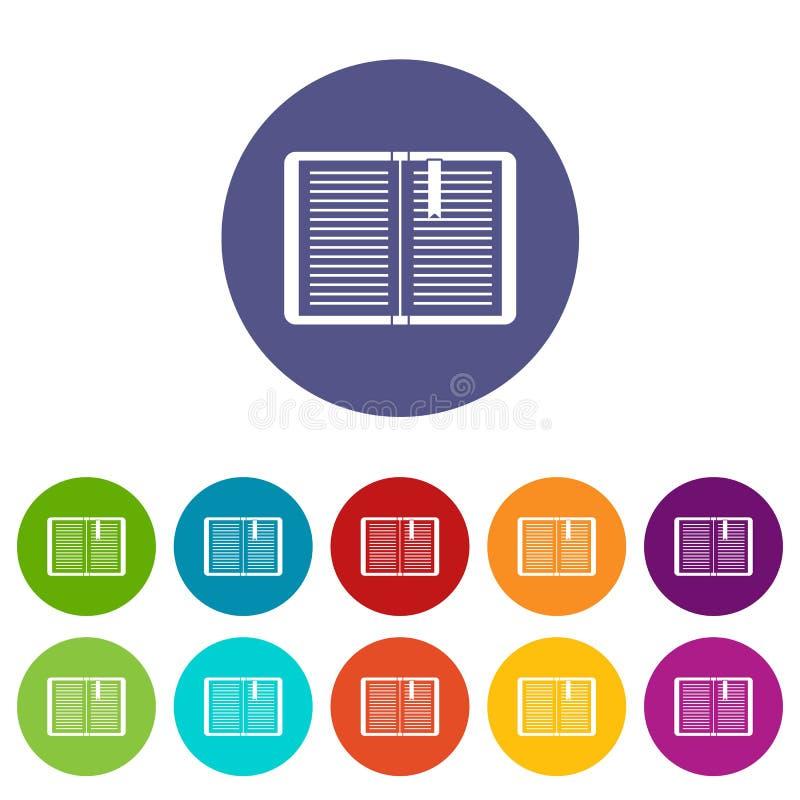 Open leerprogramma met referentie vastgestelde pictogrammen vector illustratie