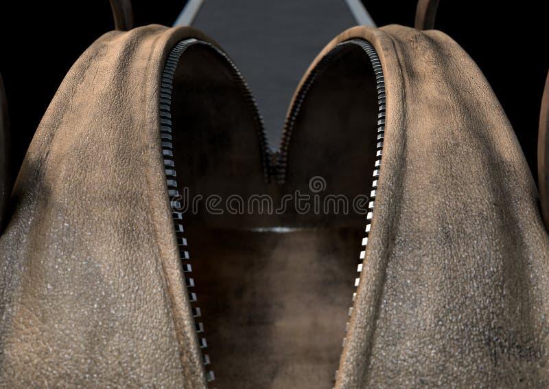 Open Lege Bruine Duffel Zak royalty-vrije illustratie