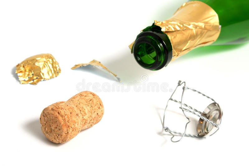 Open lege champagnefles royalty-vrije stock foto's