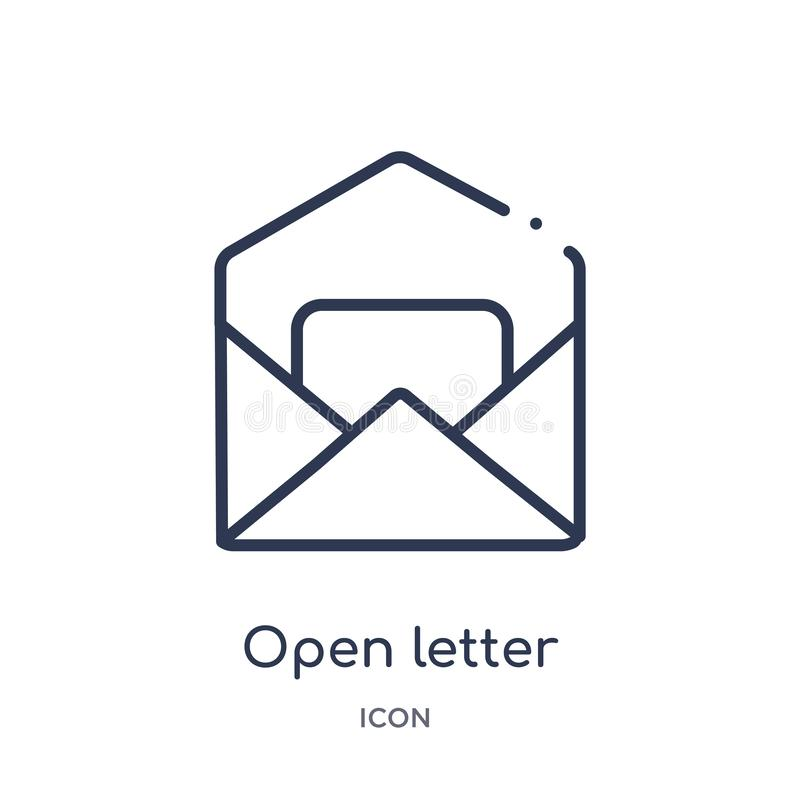 open letter read email icon from user interface outline collection. Thin line open letter read email icon isolated on white vector illustration