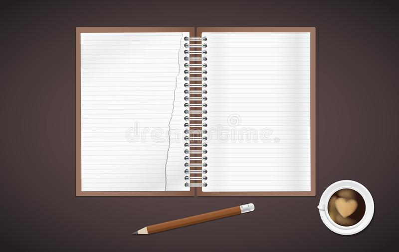 Open lined, torn realistic notepad notebook with spiral and pencil with cup of coffee is on brown background. royalty free illustration