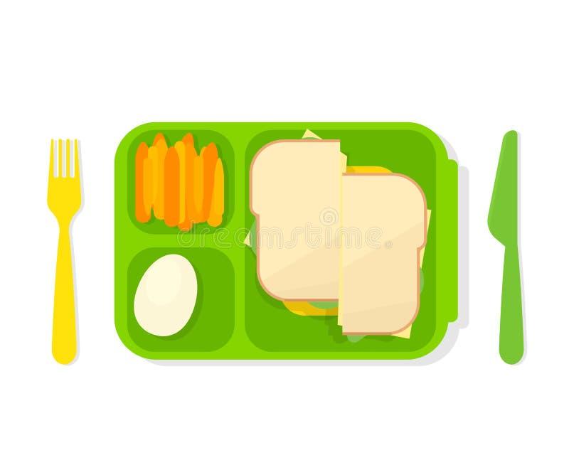 Open lunch box vector illustration