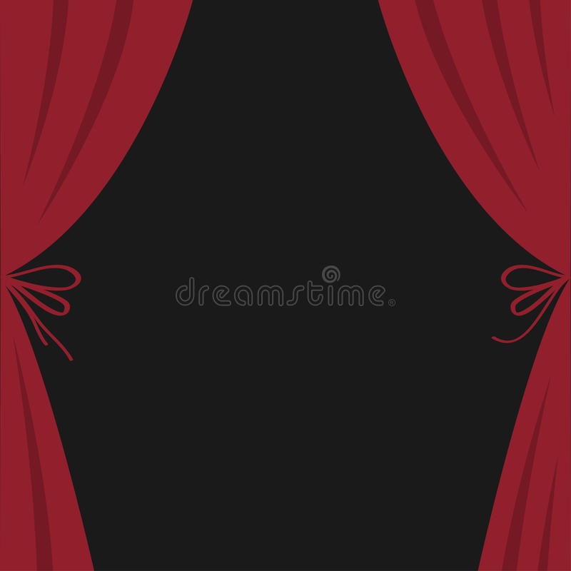 Open luxury red silk stage theatre curtain. Velvet scarlet curtains with bow. Flat design. Movie cinema premiere. Template. Black stock illustration