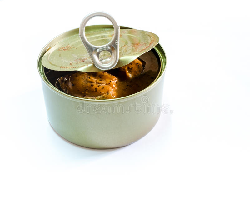 Open machte vom Dosenfisch auf Hintergrund, in Büchsen konservierte Nahrungsmittel ein lizenzfreie stockbilder