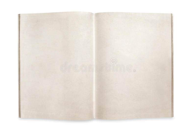 Open Magazine with Blank Pages Isolated with Path royalty free stock photos
