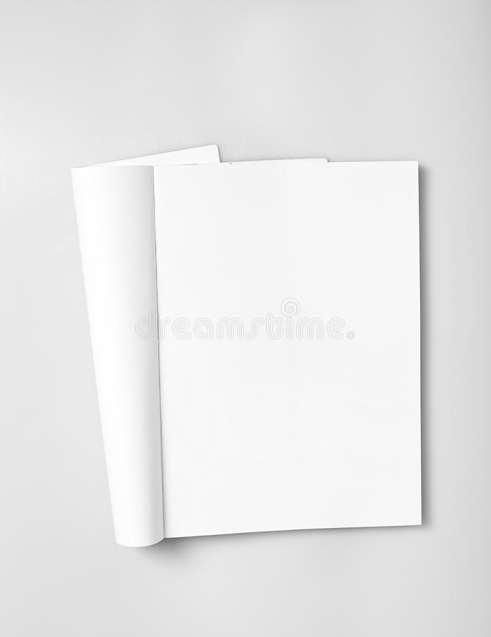 Open magazine with blank pages stock photography