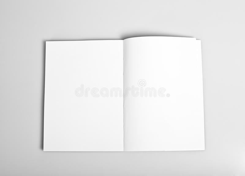 Open magazine with blank pages. Open magazine with blank white pages mockup stock photography