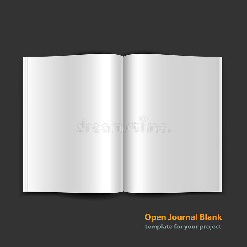 Open magazine double-page spread with blank pages. Open magazine double page spread with blank pages on black background. Vector journal EPS10 royalty free illustration